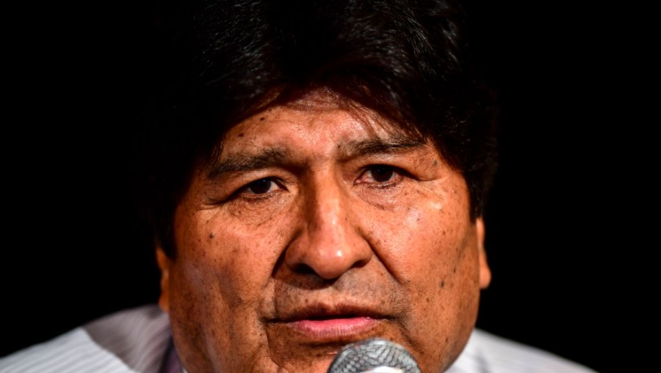 Bolivia's ex-President Evo Morales gestures during a press conference in Buenos Aires, on December 17, 2019. - Bolivia's interim president Jeanine Anez has said an arrest warrant will soon be issued against former president Evo Morales, who has received asylum in neighboring Argentina. (Photo by RONALDO SCHEMIDT / AFP) (Photo by RONALDO SCHEMIDT/AFP via Getty Images)