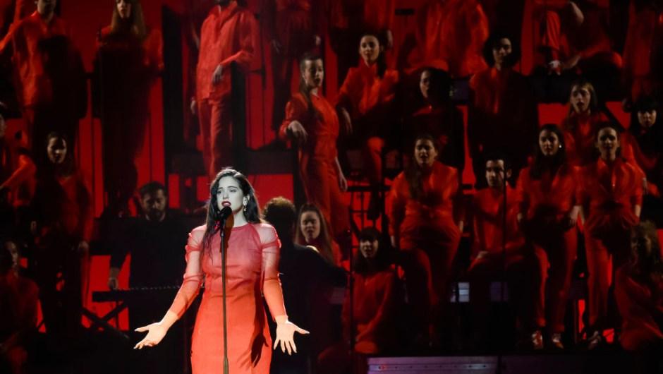 SEVILLE, SPAIN - FEBRUARY 02: Rosalia performs during the 33rd edition of the 'Goya Cinema Awards' ceremony at Palacio de Congresos y Exposiciones FIBES on February 02, 2019 in Seville, Spain. (Photo by Juan Naharro Gimenez/Getty Images)