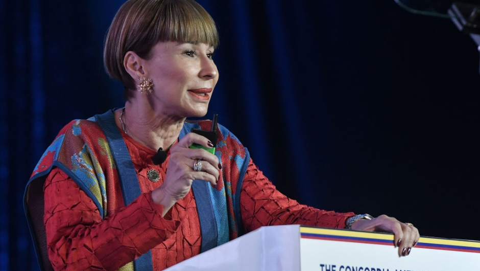 BOGOTA, COLOMBIA - MAY 14: Alicia Arango, Colombian Labor Minister, delivers a speech during the day two morning session at the 2019 Concordia Americas Summiton May 14, 2019 in Bogota, Colombia. (Photo by Gabriel Aponte/Getty Images for Concordia Summit)