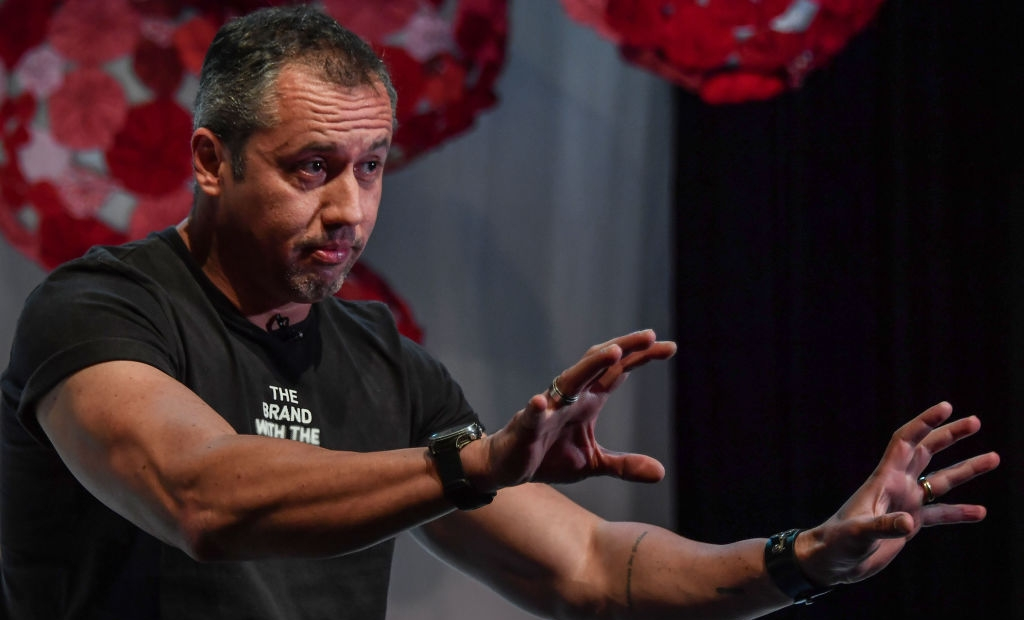 """Brazilian theater director Roberto Alvim gestures during an interview with AFP in Sao Paulo, Brazil, on July 18, 2019. - Creating a """"cultural war machine"""" in Brazil's performing arts is renowned theatre director Roberto Alvim's mission as he seeks to eradicate progressive ideas from the stage. (Photo by NELSON ALMEIDA / AFP) (Photo credit should read NELSON ALMEIDA/AFP via Getty Images)"""
