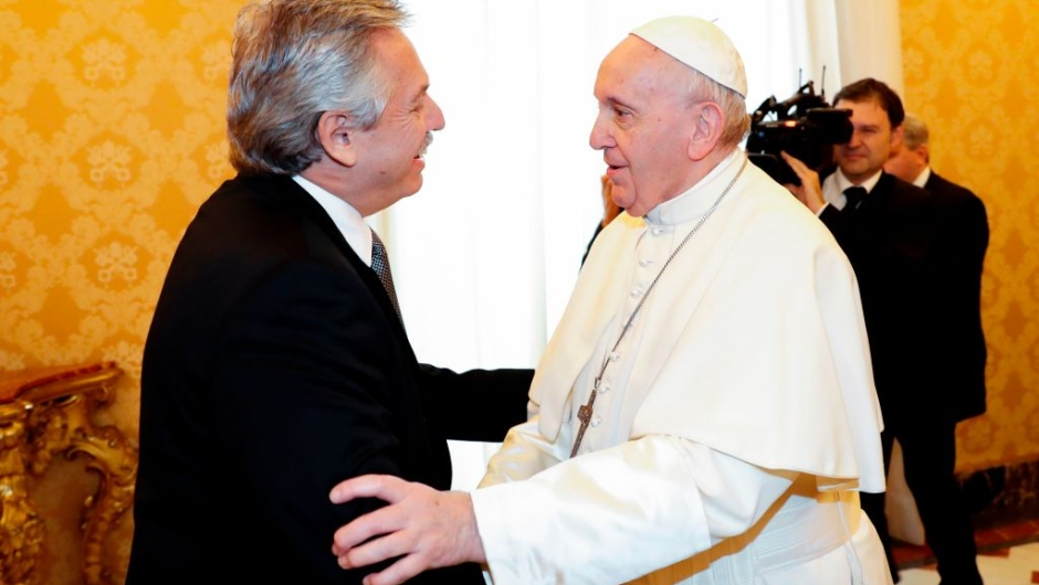 Pope Francis (R) greets Argentina's President Alberto Fernandez during a private audience at the Vatican on January 31, 2020. (Photo by REMO CASILLI / POOL / AFP) (Photo by REMO CASILLI/POOL/AFP via Getty Images)