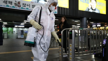 SEOUL, SOUTH KOREA - JANUARY 24: A disinfection worker wearing protective gears spray anti-septic solution in an train terminal amid rising public concerns over the spread of China's Wuhan Coronavirus at SRT train station on January 24, 2020 in Seoul, South Korea. The number of cases of a deadly new coronavirus rose to over 800 in mainland China as health officials stepped up efforts to contain the spread of the pneumonia-like disease which medicals experts confirmed can be passed from human to human. The number of those who have died from the virus in China climbed to twentyfive on Wednesday and cases have been reported in other countries including the United States,Thailand, Japan, Taiwan and South Korea. (Photo by Chung Sung-Jun/Getty Images)