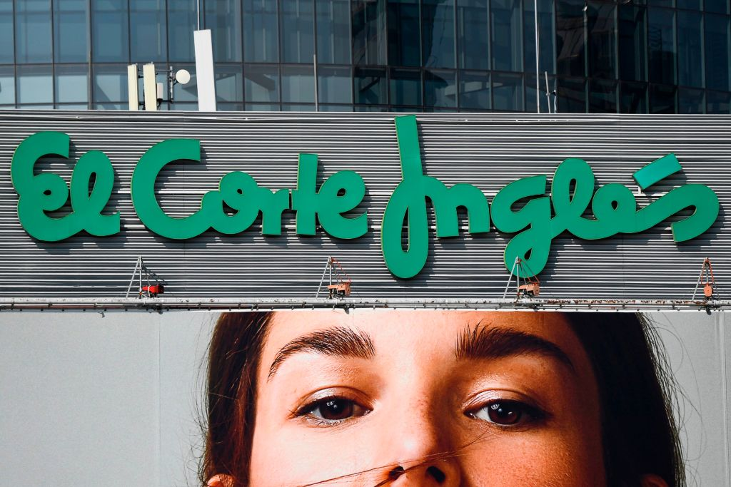 A picture shows the logo of Spanish general store El Corte Ingles in Madrid on September 27, 2018. (Photo by GABRIEL BOUYS / AFP) (Photo credit should read GABRIEL BOUYS/AFP via Getty Images)