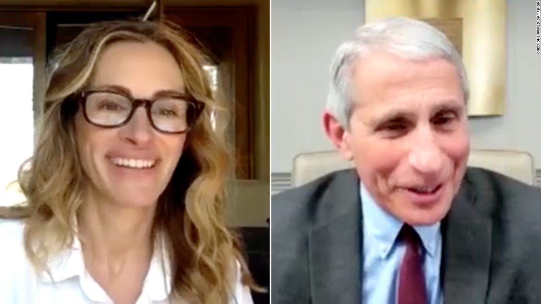 Julia Roberts y el Dr. Anthony Fauci.