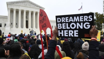 "Immigration rights activists take part in a rally in front of the US Supreme Court in Washington, DC on November 12, 2019. - The US Supreme Court hears arguments on November 12, 2019 on the fate of the ""Dreamers,"" an estimated 700,000 people brought to the country illegally as children but allowed to stay and work under a program created by former president Barack Obama.Known as Deferred Action for Childhood Arrivals or DACA, the program came under attack from President Donald Trump who wants it terminated, and expired last year after the Congress failed to come up with a replacement. (Photo by Saul LOEB / AFP) (Photo by SAUL LOEB/AFP via Getty Images)"