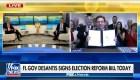 """Gobernador de Florida firma una controversial ley electoral """"en exclusiva"""" con Fox News"""