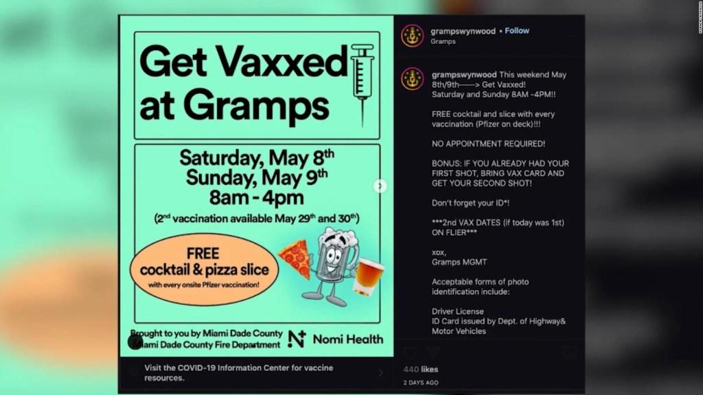 Bar en Miami regala pizzas y tragos por vacunarse