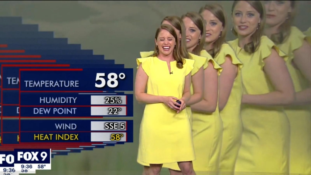 """Meteoróloga se """"multiplica"""" en vivo mientras daba reporte"""