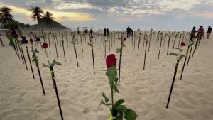 Mira por qué la playa de Copacabana quedó cubierta de rosas