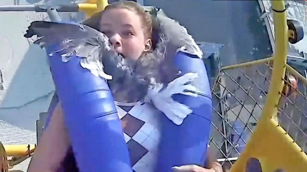 Gaviota golpea a adolescente en parque de diversiones