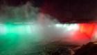 Cataratas del Niágara se iluminan de verde, blanco y rojo